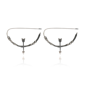 Oak Bow And Arrow Vintage Earrings Handcrafted Wholesale 925 Sterling Silver Jewelry