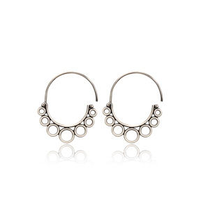 Circle Arched Shape Design Vintage Earrings Handcrafted Wholesale 925 Sterling Silver Jewelry