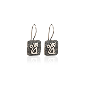 Square Shape Cat Design Vintage Earrings Handcrafted Wholesale 925 Sterling Silver Jewelry