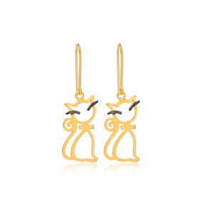 22K Gold Plated Silver Pretty Cat Design Vintage Earrings Handcrafted Wholesale 925 Sterling Silver Jewelry