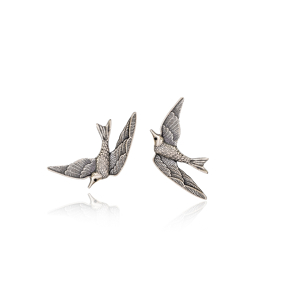 Swallow Bird Design Vintage Stud Earrings Handcrafted Wholesale 925 Sterling Silver Jewelry