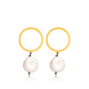 22K Gold Plated Silver Trendy Cultured Pearl Earrings Handcrafted Wholesale Jewelry