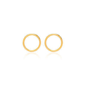 22K Gold Plated Silver Minimalistic Hollow Design Vintage Stud Earrings Handcrafted Wholesale 925 Sterling Silver Jewelry