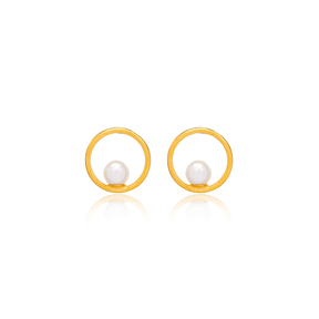 22K Gold Plated Mallorca Pearl Stud Earrings Handcrafted Wholesale 925 Sterling Silver Jewelry