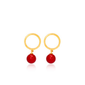 22K Gold Plated Coral Charm Stud Earrings Handcrafted Wholesale 925 Sterling Silver Jewelry
