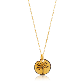 Silver 22K Gold Vintage Tree Of Life Design Medallion Pendant Wholesale Handcrafted Silver Jewelry