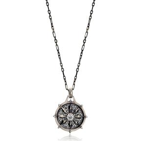 Flower Zircon Stone Design Authentic Medallion Pendant Wholesale Turkish Handcrafted Silver Jewelry