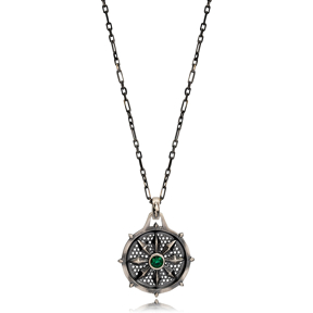 Flower Emerald Stone Authentic Medallion Pendant Wholesale Turkish Handcrafted Silver Jewelry