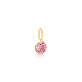 October Birthstone Pink Tourmaline Charm Wholesale Handmade Turkish 925 Silver Sterling Jewelry