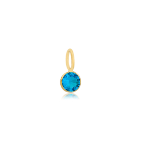 December Birthstone Blue Zircon Charm Wholesale Handmade Turkish 925 Silver Sterling Jewelry