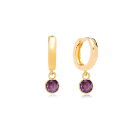 February Birthstone Amethyst Charm Earrings Wholesale Turkish 925 Silver Sterling Jewelry