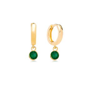 May Birthstone Emerald Charm Earrings Wholesale Turkish 925 Silver Sterling Jewelry