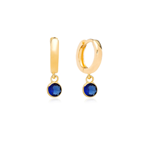 September Birthstone Sapphire Charm Earrings Wholesale Turkish 925 Silver Sterling Jewelry