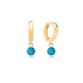 December Birthstone Blue Zircon Charm Earrings Wholesale Turkish 925 Silver Sterling Jewelry