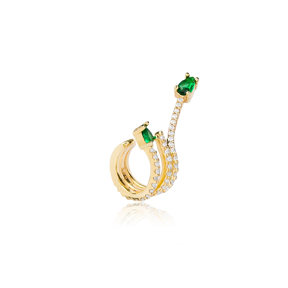 Unique Shape Emerald Stone Cartilage Single Earring Wholesale 925 Sterling Silver Jewelry