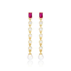 Ruby Stone Elegant Pearl  Earring Turkish Wholesale Handmade 925 Sterling Silver Jewelry