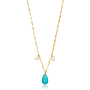 Stylish Drop Shape Turquoise Charm Pendant Wholesale 925 Sterling Silver Jewelry
