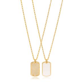 Double Side White Enamel Charm Pendant Wholesale 925 Sterling Silver Jewelry