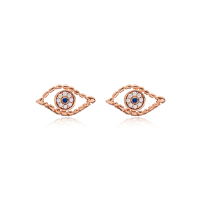 Evil Eye Design Handmade Turkish Wholesale 925 Sterling Silver Stud Earring