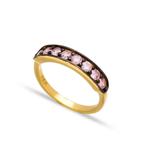 Pink Zircon Band Rings Turkish Wholesale 925 Sterling Silver Jewelry