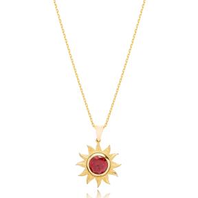 Sun Design Ruby Stone Pendant Turkish Wholesale 925 Sterling Silver Jewelry