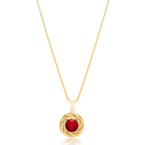Traditional Round Ruby Stone Pendant Turkish Wholesale 925 Sterling Silver Jewelry