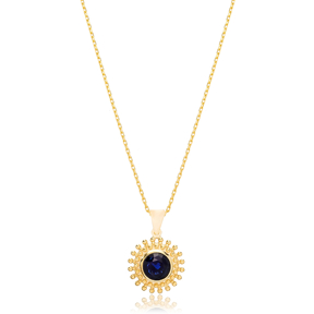 Round Charm Deep Blue Sapphire Pendant Turkish Wholesale 925 Sterling Silver Jewelry