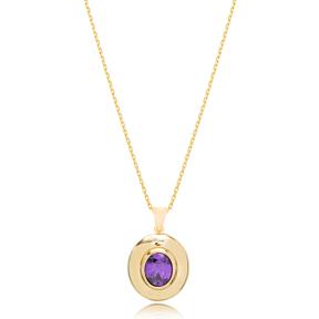 Minimalistic Design Amethyst Stone Pendant Turkish Wholesale 925 Sterling Silver Jewelry