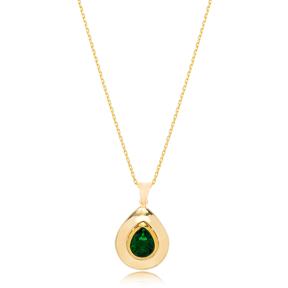 Drop Shape Design Emerald Stone Pendant Turkish Wholesale 925 Sterling Silver Jewelry