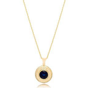 Traditional Charm Deep Blue Sapphire Pendant Turkish Wholesale 925 Sterling Silver Jewelry
