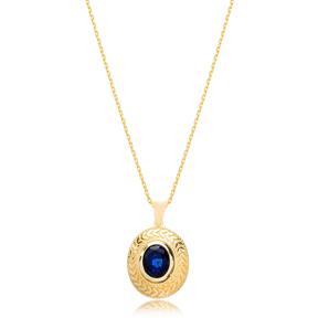 Leaf Ornament Deep Blue Sapphire Stone Pendant Wholesale 925 Sterling Silver Jewelry
