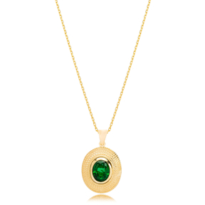 Vintage Oval Emerald Stone Pendant Turkish Wholesale 925 Sterling Silver Jewelry