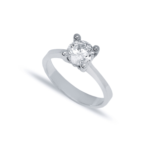 Four Claw Classic Solitaire Engagement Ring Wholesale Turkish 925 Sterling Silver Jewelry