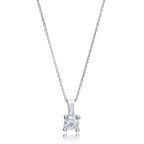 Classic Four Claw Charm Zircon Stone Pendant Wholesale Turkish 925 Sterling Silver Jewelry