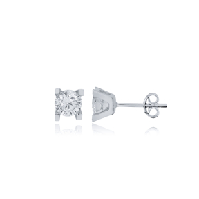 Four Square Claw Zircon Stone Earrings Wholesale Turkish 925 Sterling Silver Jewelry