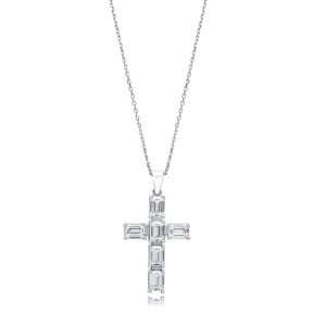 Cross Baguette Design Pendant Turkish Wholesale Handmade 925 Sterling Silver Jewelry