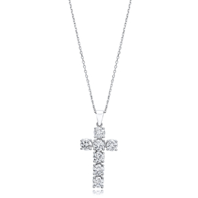 Cross  Elegant Round Cut Design Pendant Turkish Wholesale Handmade 925 Sterling Silver Jewelry