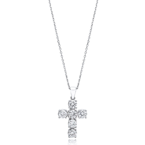 Cross Mini Round Cut Design Pendant Turkish Wholesale Handmade 925 Sterling Silver Jewelry