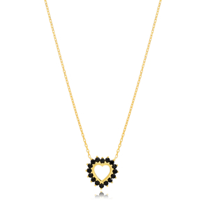 Heart Charm Black Zircon Rounded Pendant Turkish Handmade 925 Sterling Silver Jewelry