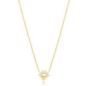 Mini Heart Charm Zircon Pendant Turkish Handmade 925 Sterling Silver Jewelry