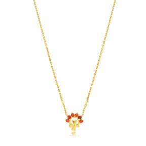 Mini Clover Charm Ruby Stone Pendant Turkish Handmade 925 Sterling Silver Jewelry