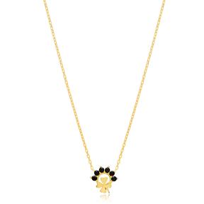 Mini Clover Charm Black Zircon Stone Pendant Turkish Handmade 925 Sterling Silver Jewelry
