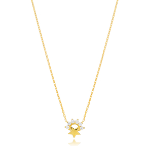 Mini Star Charm Zircon Stone Pendant Turkish Handmade 925 Sterling Silver Jewelry