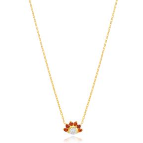 Mini Round Charm Ruby Zircon Stone Pendant Turkish Handmade 925 Sterling Silver Jewelry
