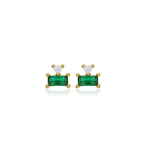 Trendy Design Emerald Stud Earring Turkish Wholesale 925 Sterling Silver Jewelry