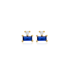 Trendy Design Sapphire Stud Earring Turkish Wholesale 925 Sterling Silver Jewelry
