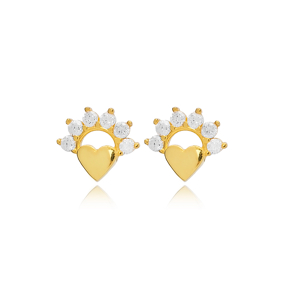Divine Heart Zircon Stud Earring Turkish Wholesale 925 Sterling Silver Jewelry