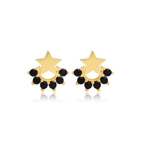 Small Star Black Zircon Stud Earring Turkish Wholesale 925 Sterling Silver Jewelry