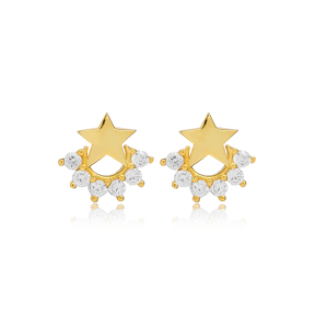 Small Star Zircon Stud Earring Turkish Wholesale 925 Sterling Silver Jewelry