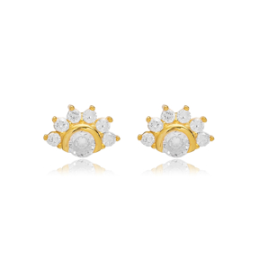 Sparkling Zircon Stud Earring Turkish Wholesale 925 Sterling Silver Jewelry